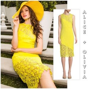 "Alice & Olivia lemon ""Margy"" lace midi dress 4 NWT"